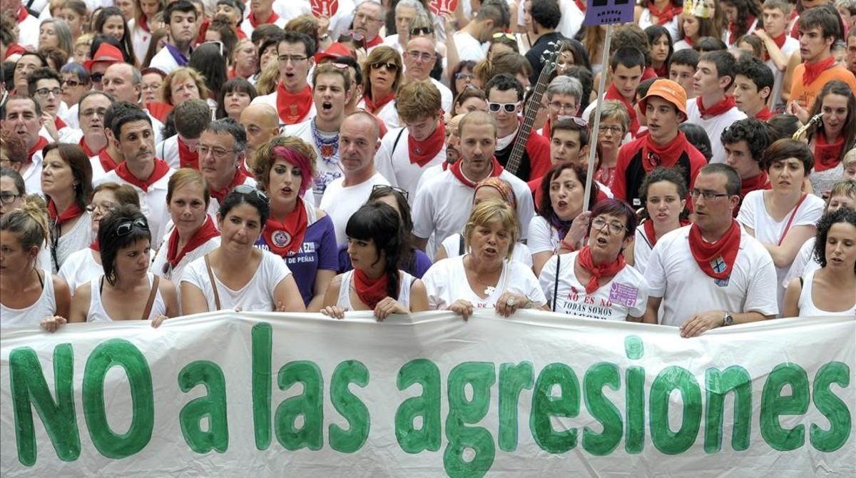 Protesta en Pamplona tras la violación colectiva de 'La manada'.