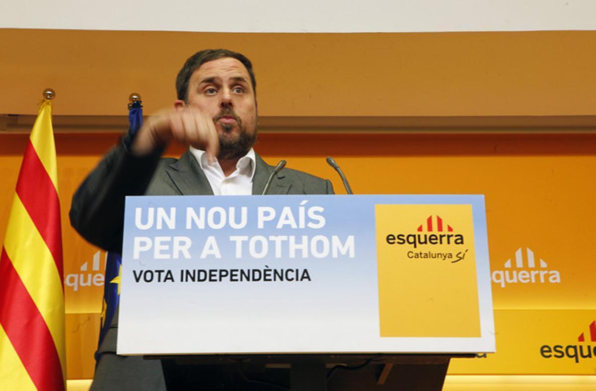 Oriol Junqueras, el lunes, en la rueda de prensa de valoración del 25-N.