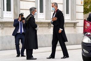 El Rey Felipe VI antes del acto de apertura del Año Judicial en el Tribunal Supremo, junto a el Carlos Lesmes
