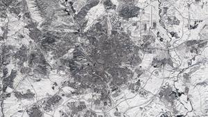 Madrid vista desde el espacio tras el paso de la borrasca Filomena
