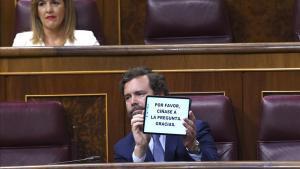 Sesión de Control al Gobierno esta mañana en el Congreso de los Diputadosen la imagenel diputado de VOX Ivan Espinosa de los Monteros.