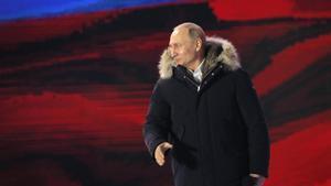 El presidente ruso, Vladimir Putin, enun acto de campaña el 18 de marzo en Moscú.