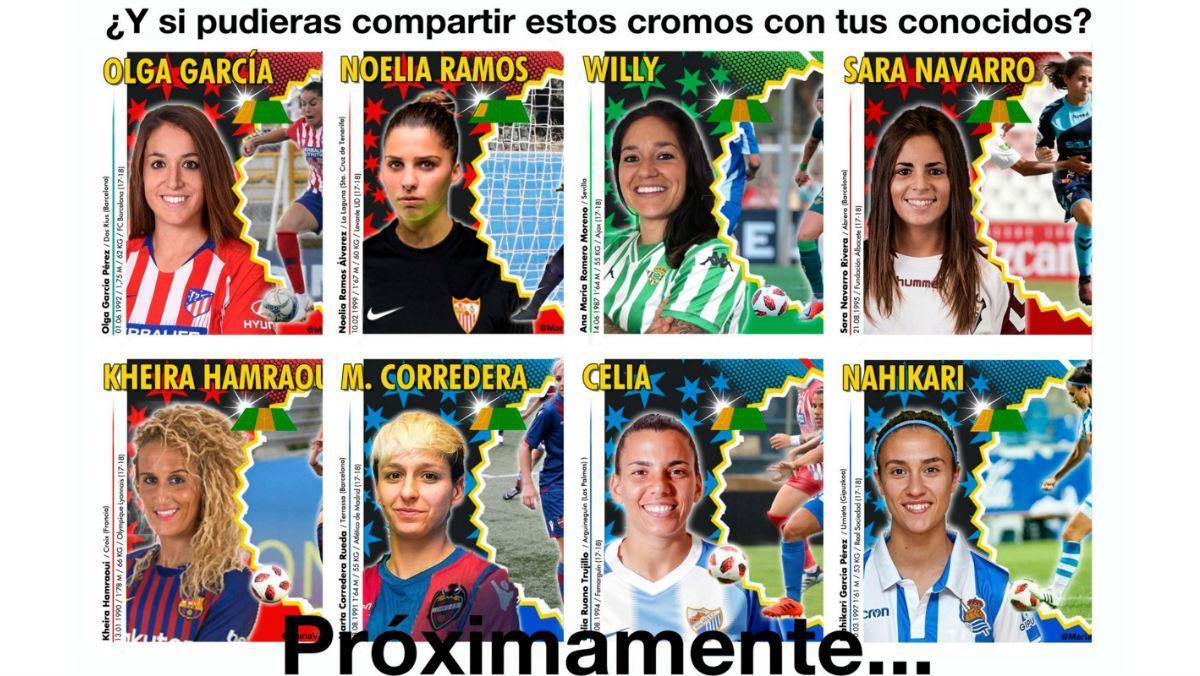 Imagen de los cromos de la Liga Femenina elaborados por MaríaVázquez que ella ha colgado en Twitter.