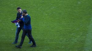 Rubi y Valverde, en el RCD Stadium para la tradicional foto conjunta previa al partido.