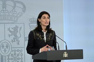 La nueva ministra de Justicia, Pilar Llop, durante su comparecencia en la Moncloa el 14 de julio.