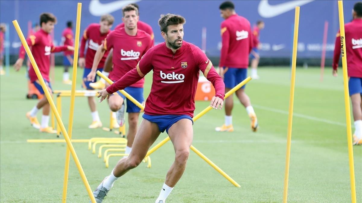 Gerard Piqué, en el entrenamiento del martes.