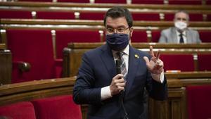 Pere Aragonès en la sesión de control al Govern en el Parlament.