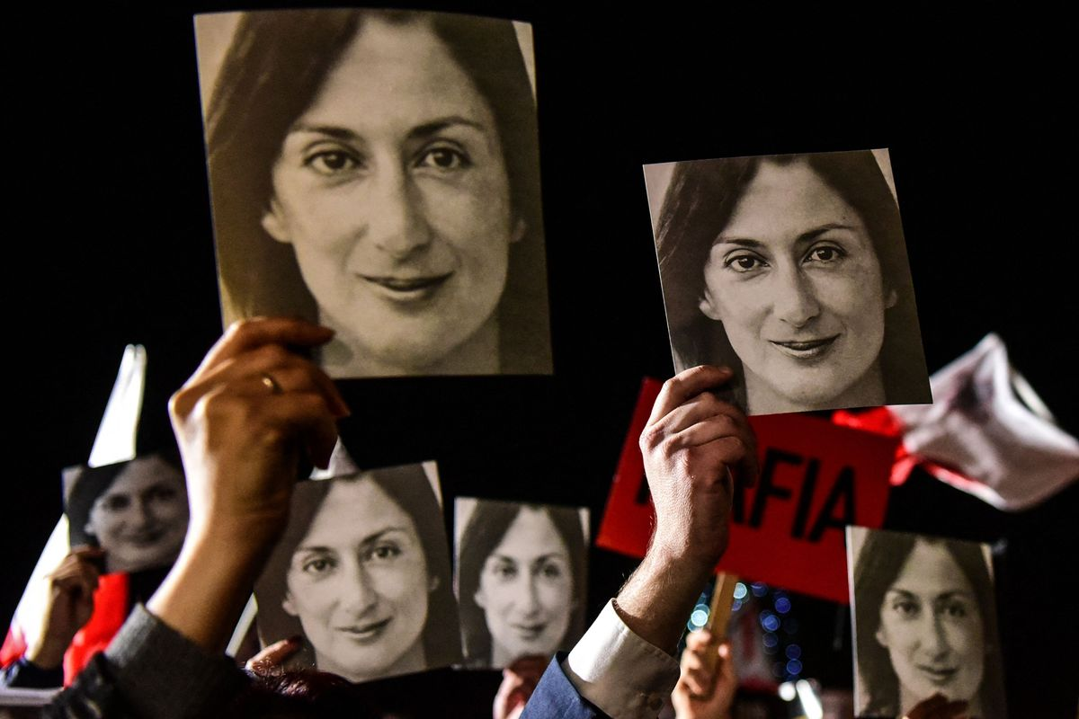 Una protesta por la muerte de la periodista Daphne Caruana Galizia.
