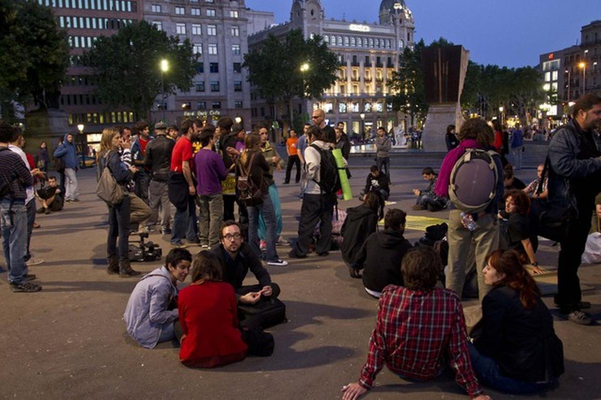 Acampada en la plaza de Catalunya de Barcelona.