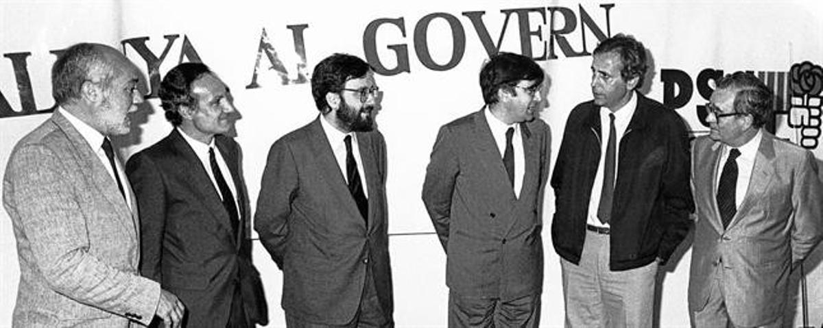 Martín Toval, Majó, Serra, Lluch, Obiols y Reventós, en un acto electoral en los 80.