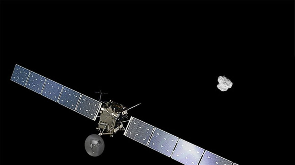 Representación de la sonda europea Rosetta acercándose al cometa 67/P Churyumov-Gerasimenko.