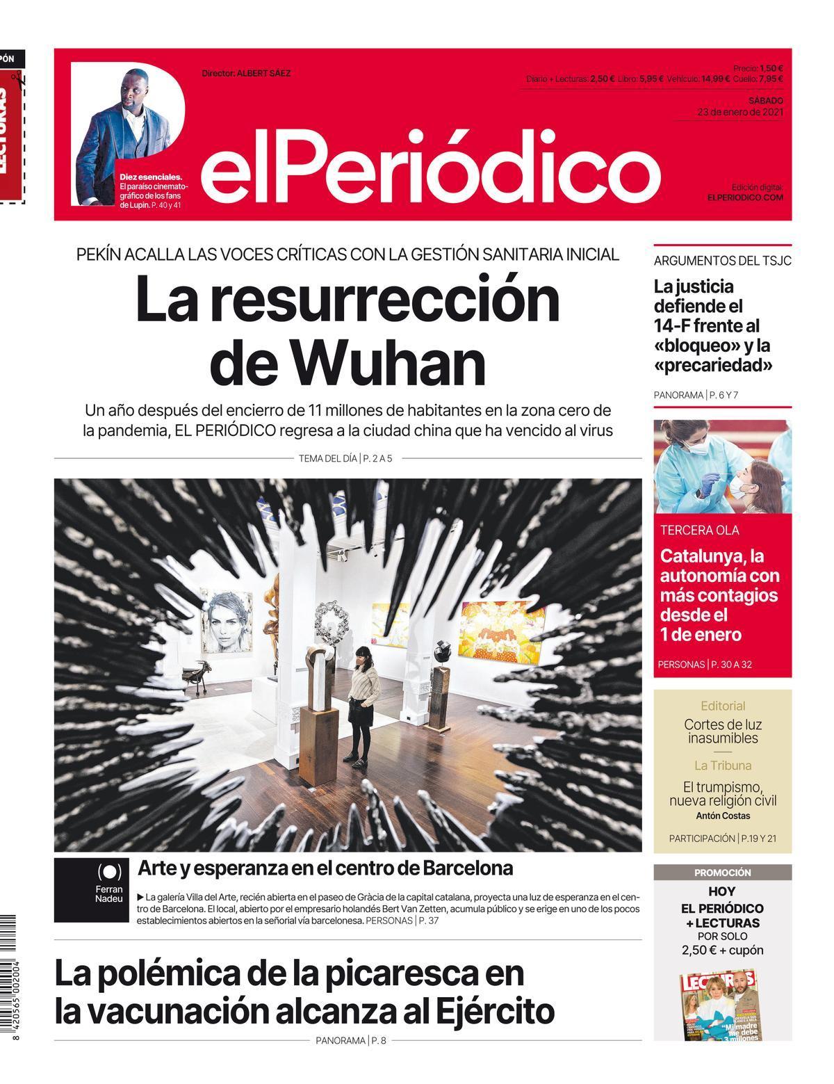 La portada de EL PERIÓDICO del 23 de enero de 2021
