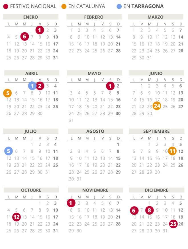 Calendari laboral de Tarragona del 2021 (amb tots els dies festius)