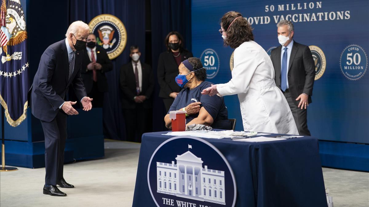Joe Biden, en el acto celebrado en Washington al llegar a los 50 millones de vacunaciones, el 25 de febrero.