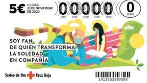Billete del Sorteo del Oro de la Cruz Roja 2020.