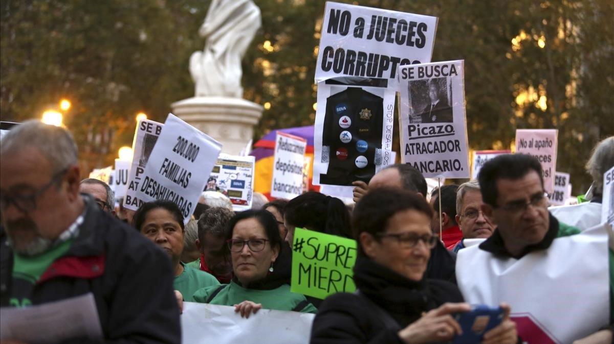 Manifestación de este sábadofrente a la sede madrileña del Tribunal Supremo.