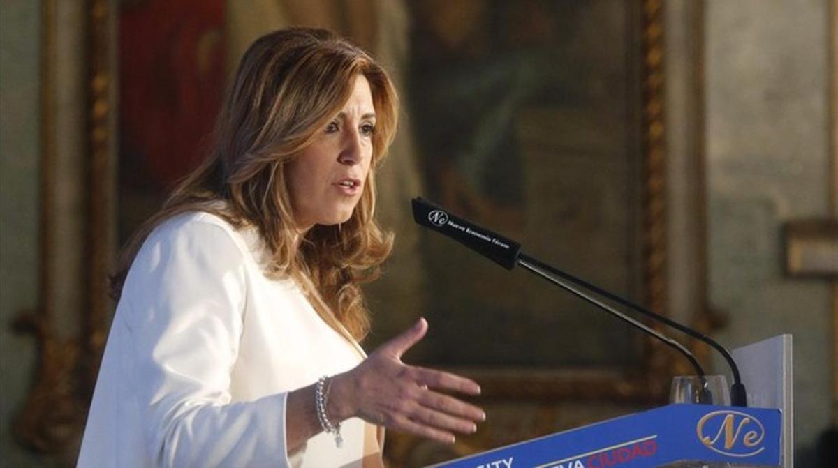 La presidenta de la Junta de Andalucía, Susana Díaz, en el Foro de la nueva ciudad en Madrid.