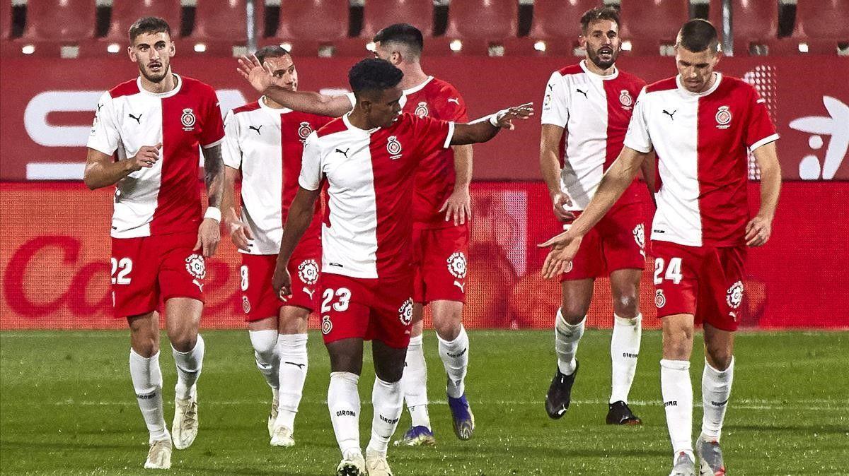 Los jugadores del Girona celebran un gol de Stuani en un partido de esta temporada.