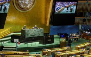 Unasesión de Asamblea General de la ONU.