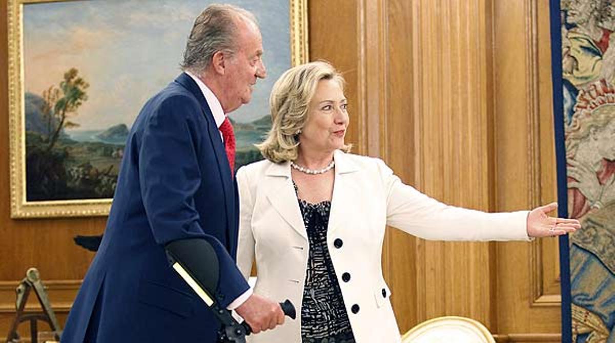 Primera audiencia pública de Juan Carlos tras su operación de rodilla