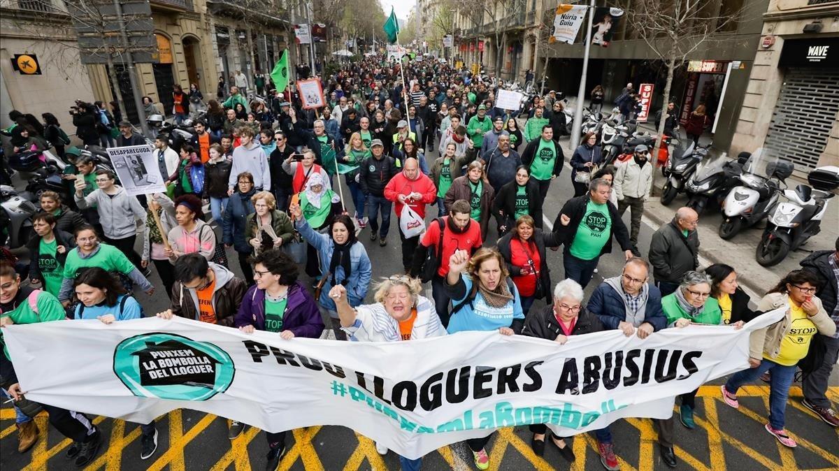 Manifestación del sindicato de inquilinos, en abril del 2019.