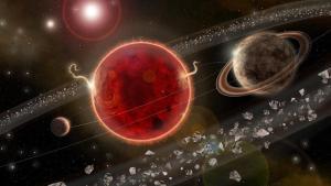 Representación artística del recién descubierto planeta Próxima Centauri c, bautizado así en referencia a la estrella que orbita