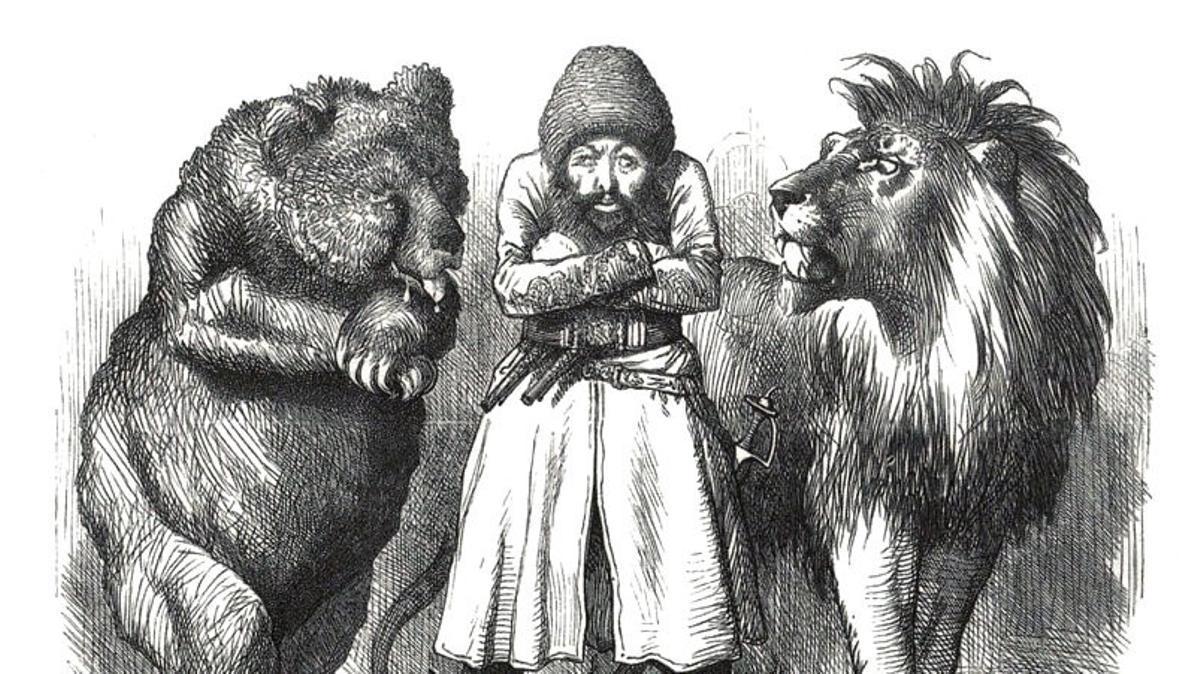 Caricatura publicada en la prensa londinense en 1878, donde Afganistán aparece vigilada por el león británico y el oso ruso ('Punch', 1878)