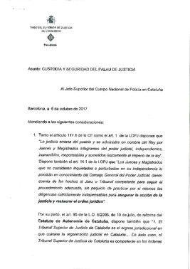 Acuerdo del TSJC sobre la vigilancia del Palacio de Justicia.