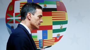 El presidente Pedro Sánchez, en Bruselas, tras una reunión del Consejo Europeo