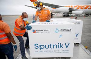 Un cargamento de vacunas Spútnik V llega al aeropuerto de Caracas, Venezuela, el pasado 29 de marzo.