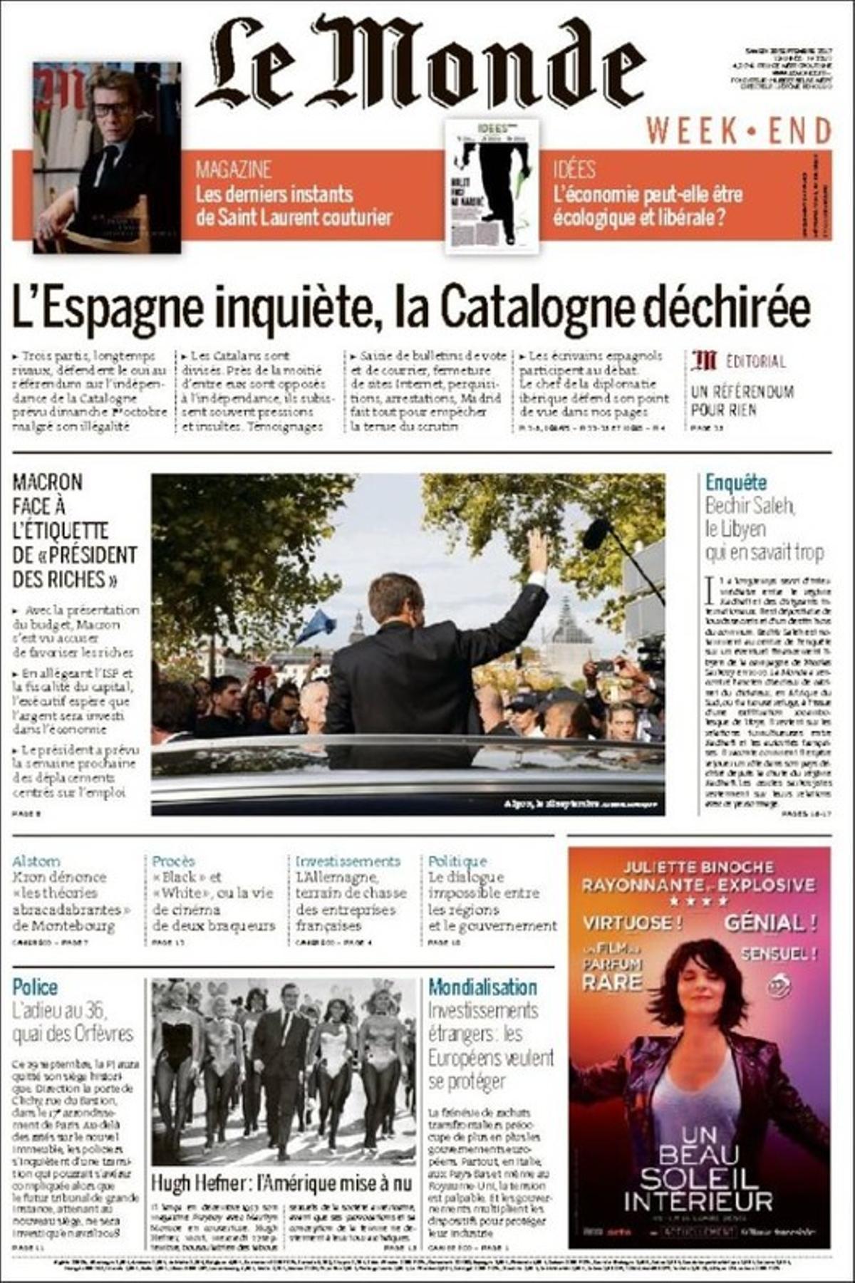 La portada de 'Le Monde', con su titular principal dedicado a Catalunya.