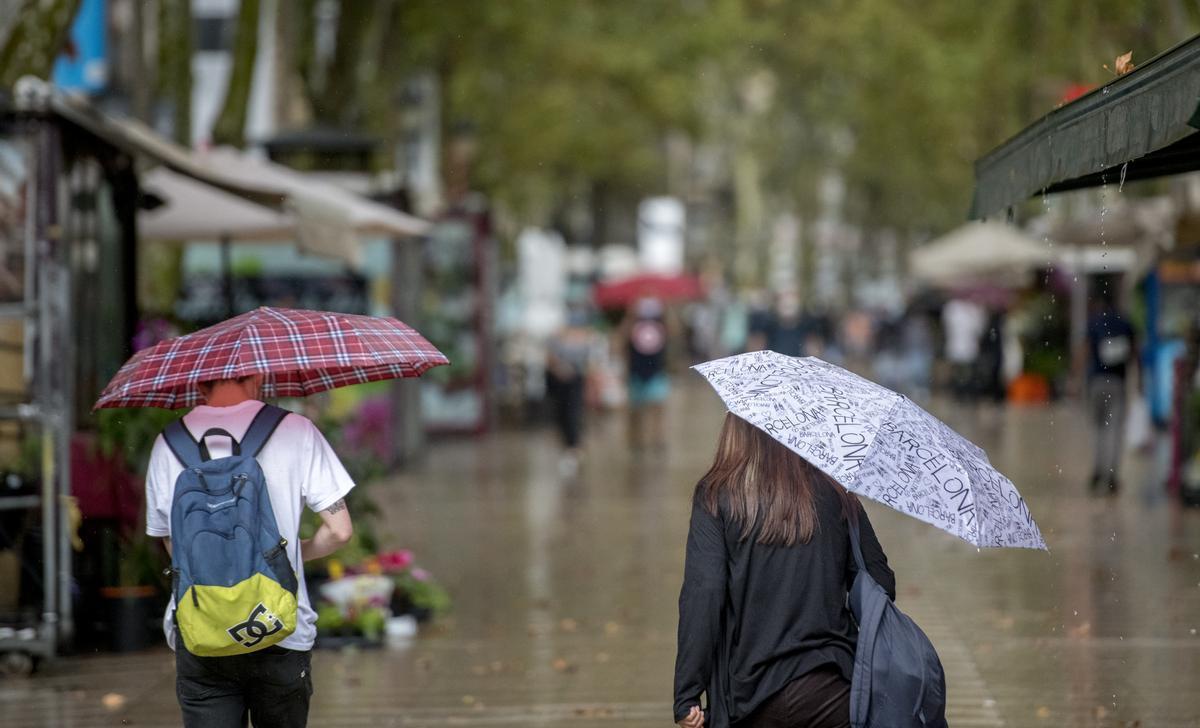 Un día lluvioso en Barcelona, en septiembre de 2020.
