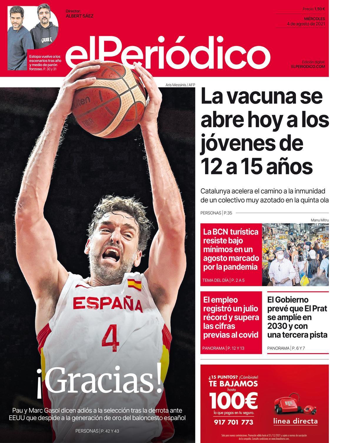 La portada de EL PERIÓDICO del 4 de agosto de 2021