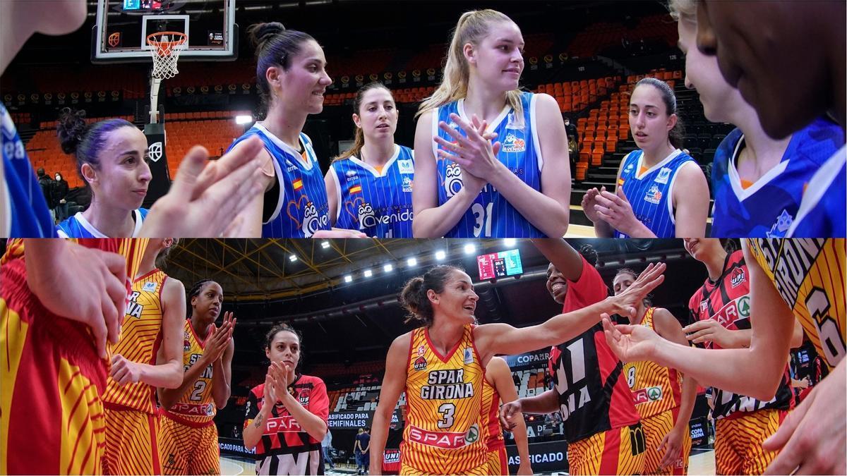 Las jugadoras del Avenida (arriba) y del Spar Girona, tras su pase a semifinales