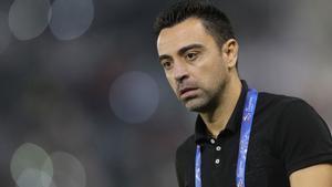 Xavi da positivo de coronavirus. En la foto, el técnicodurante un partido con el Al-Sadd.