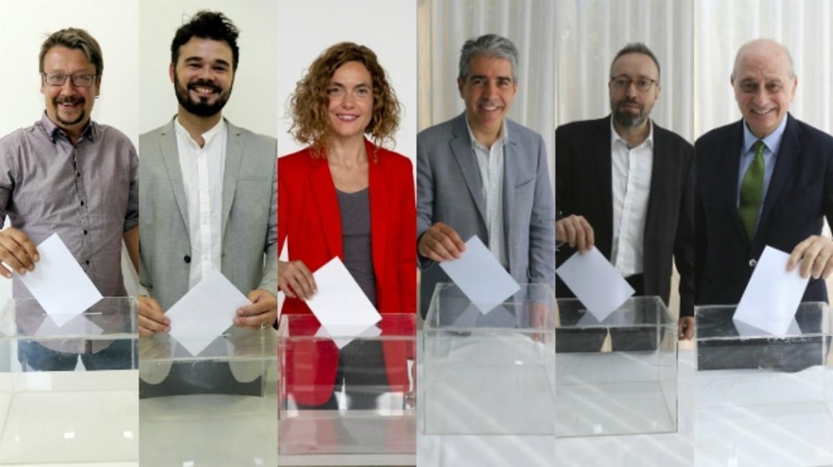 Xavier Domènech (En Comú Podem), Gabriel Rufián (ERC), Meritxell Batet (PSC), Francesc Homs (CDC), Juan Carlos Girauta (Ciutadans) y Jorge Fernández Díaz (PPC).