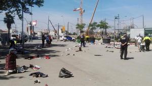 El mercado de la miseria de Glòries, después de ser desalojado por enésima vez hoy.
