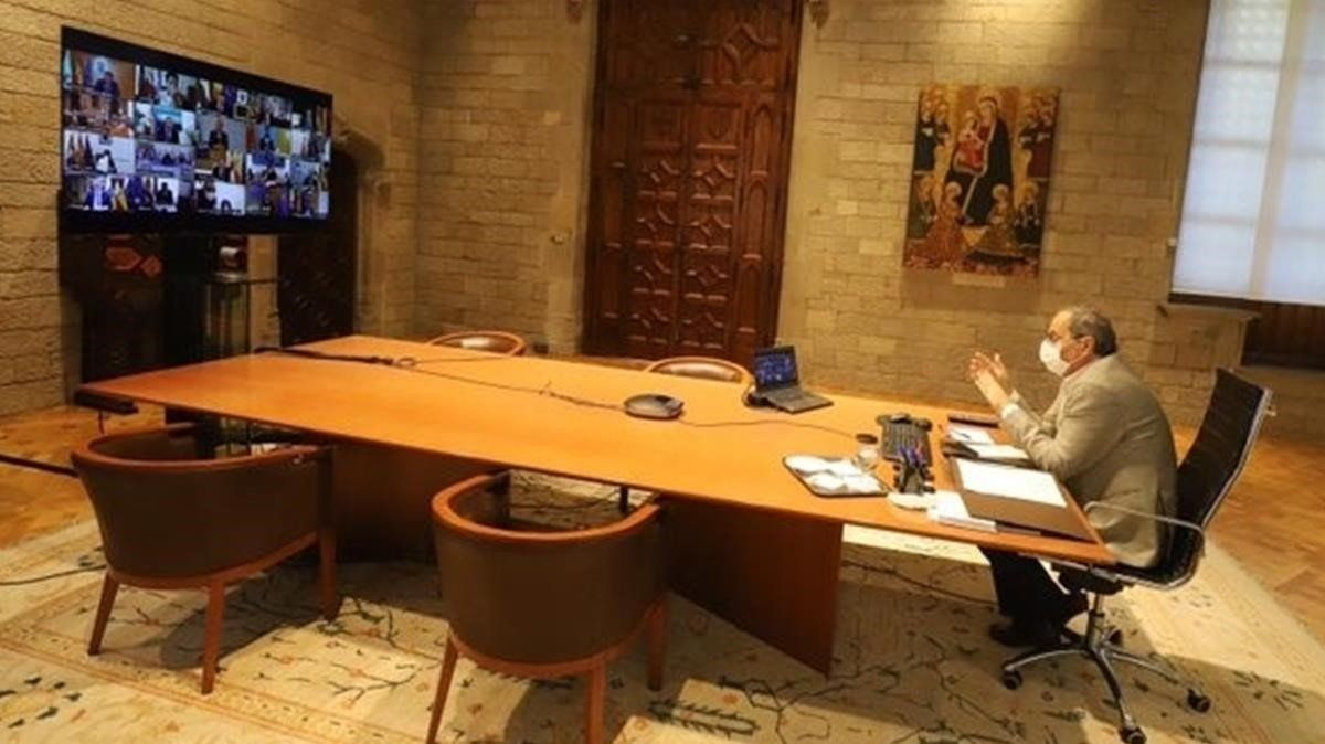 Quim Torra, durante su reunión telemática con el presidente del Gobierno, Pedro Sánchez, y los demás mandatarios autonómicos, este 4 de septiembre.