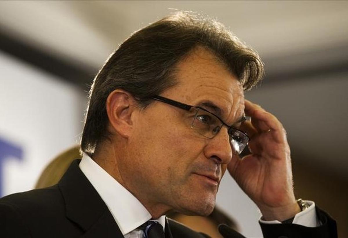 El candidato de CiU, Artur Mas, la noche electoral en el Hotel Majestic.