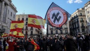 Manifestación de Vox en la plaza de Sant Jaume de Barcelona