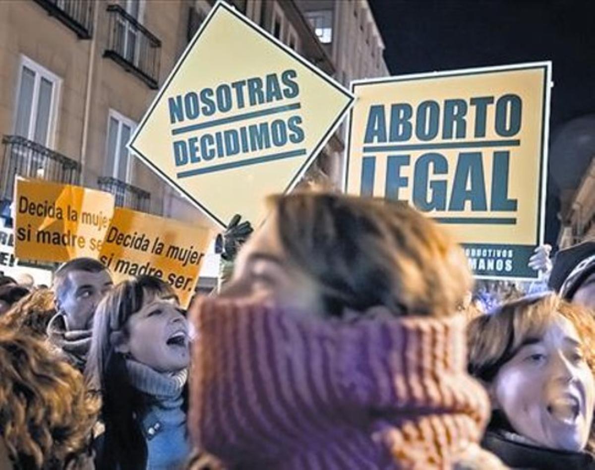 Protesta ante el Ministerio de Justicia contra la reforma de Gallardón.