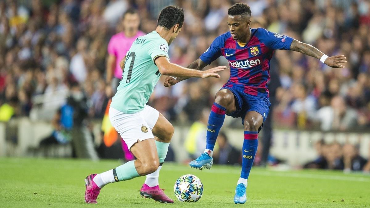 Semedo, durante el partido del año pasado ante el Inter en el Camp Nou.