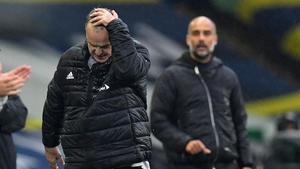 Bielsa y Guardiola, en Leeds, este sábado.