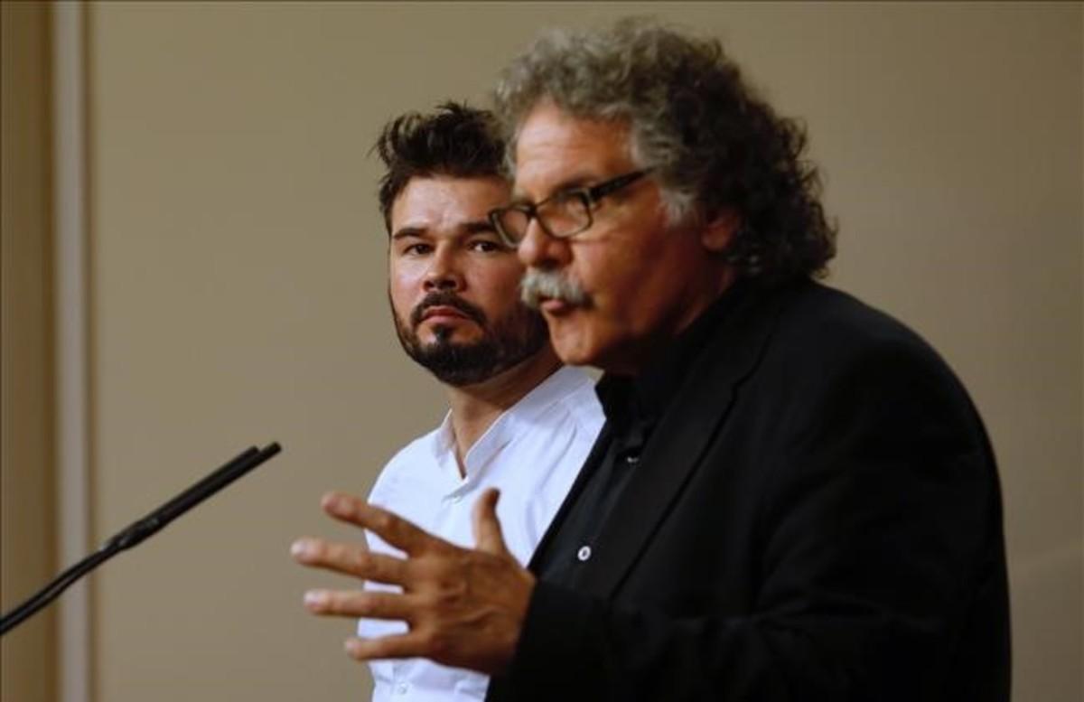 Joan Tardà y Gabriel Rufián, diputados de ERC en el Congreso.