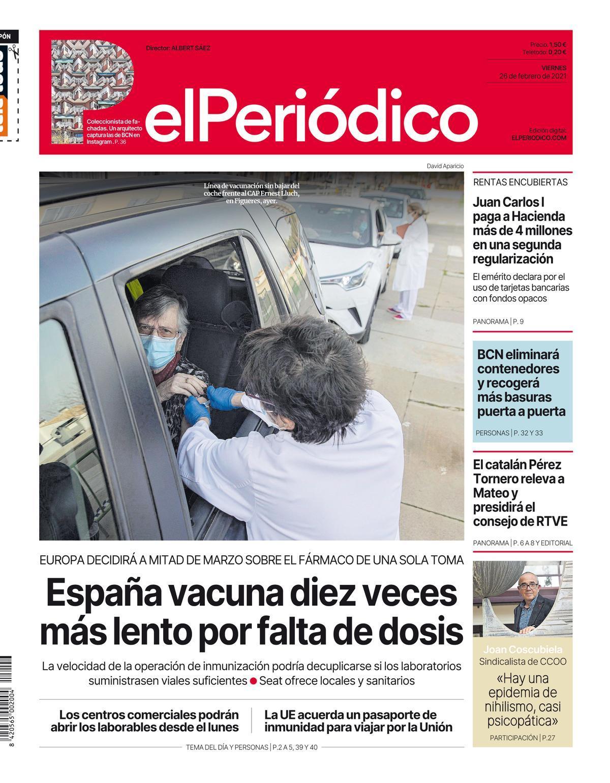 La portada de EL PERIÓDICO del 26 de febrero de 2021.