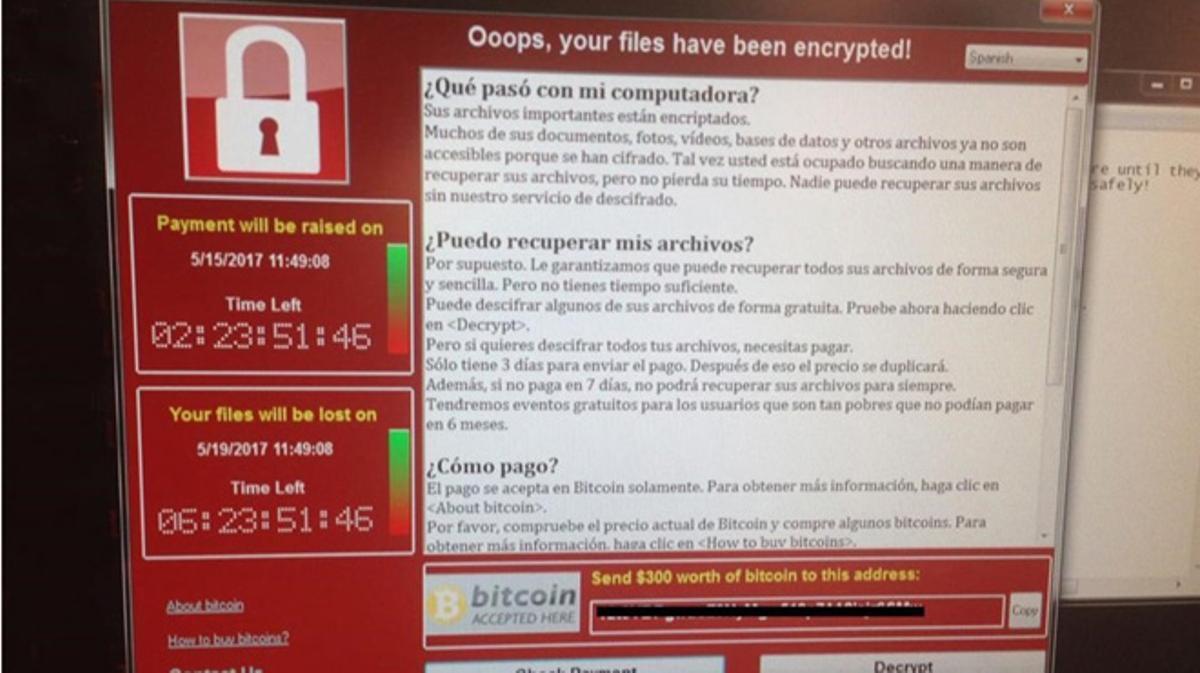 Telefónica y otras grandes empresas de España fueron infectadas por el 'Wannacry'.