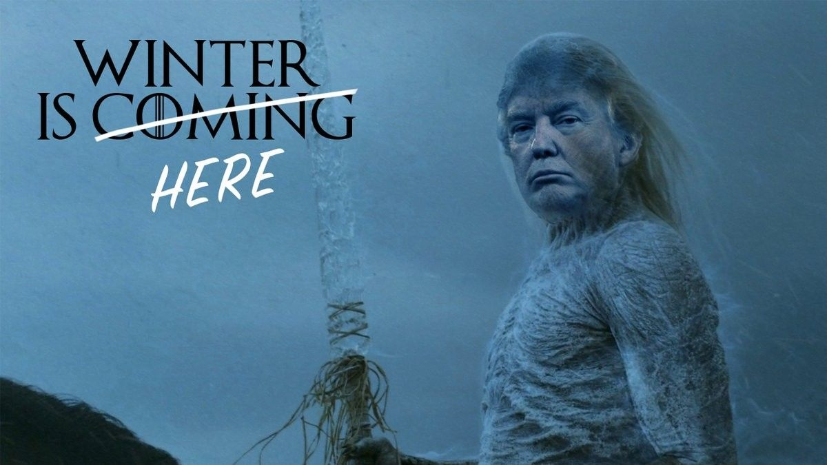 Meme de Trump evocando la mítica frase Winter is coming de Juego de Tronos.