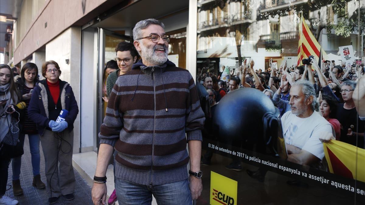 Carles Riera, este sábado en el consejo político de la CUP.