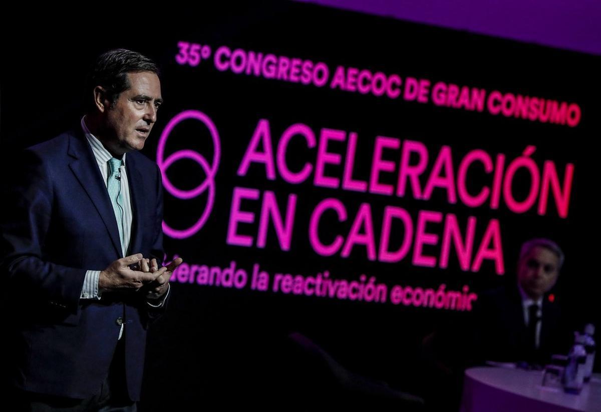 Antonio Garamendi durante el 35 Congreso de Aecoc.
