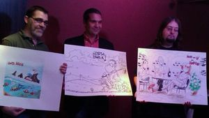 Xavier Carrasco , Cels Piñol y Nacho Fernández (izquierda a derecha), con los dibujos que han improvisado en la convocatoria del Premi de Còmic Costa Brava.
